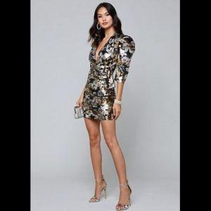 Bebe Metallic Floral Dress